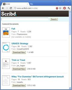 Scrib.com Mobile View